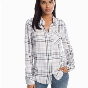 WHBM long sleeve button up top size 12